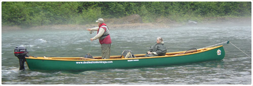 Canoe to transport customers on the Bonaventure River in the Gaspé salmon fishing